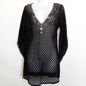 Arden B Mesh Embellished Tunic/Swimsuit Coverup L